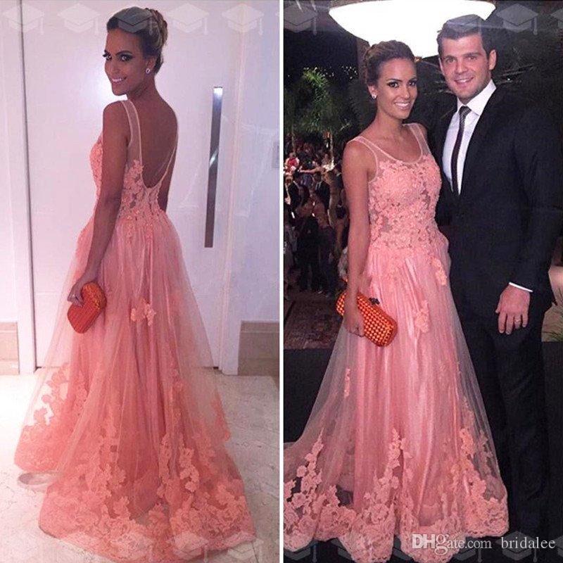 2020 Elegant Lace Applique Tulle Backless Evening Dresses Scoop Neck Illusion Formal Evening Gowns Long Pink Prom Dresses Formal Gown Women