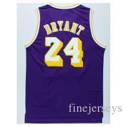 Baratos Nº 24 K B jerseys amarillo púrpura camiseta de baloncesto retro blanco bordado Logos NCAA