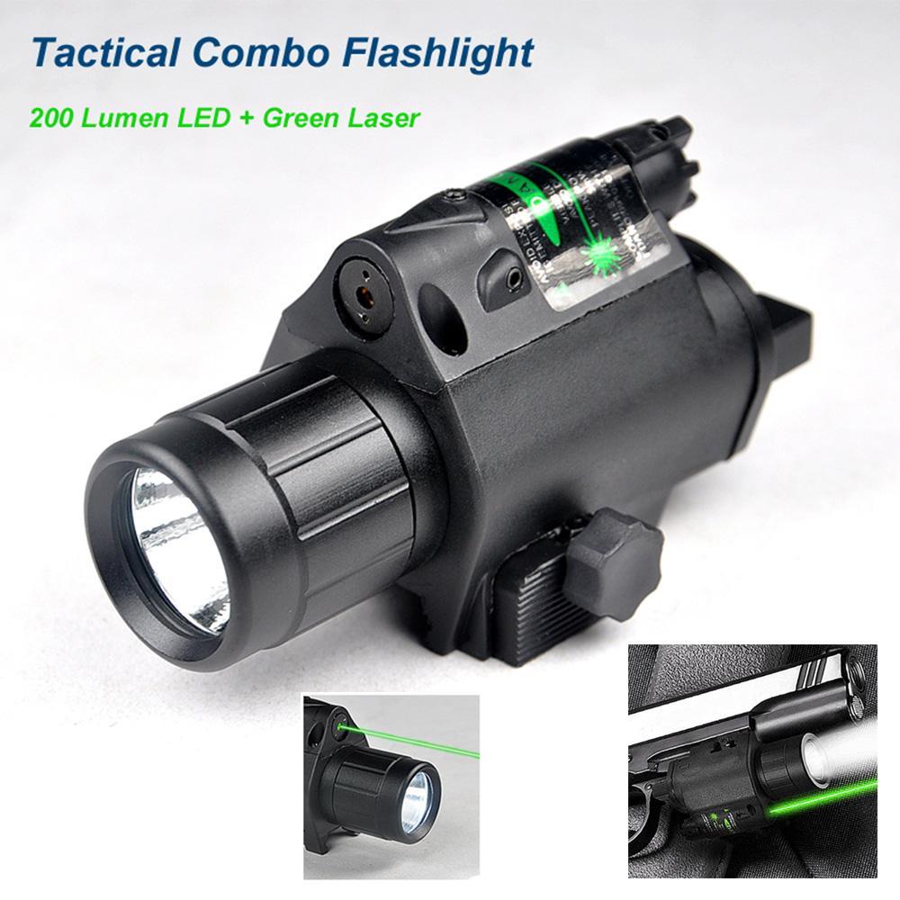 Новая улучшенная 3Вт 200 Люмен светодиодный тактический фонарик комбо зеленый лазерный луч 20 мм Пикатинни крепление и переключатель хвост линии.