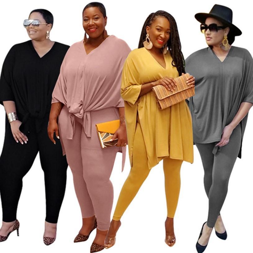 Women plus size S-5XL 2 piece set split fall casual clothing hoodies leggings solid color outfits plain V-neck tracksuit capris 3612