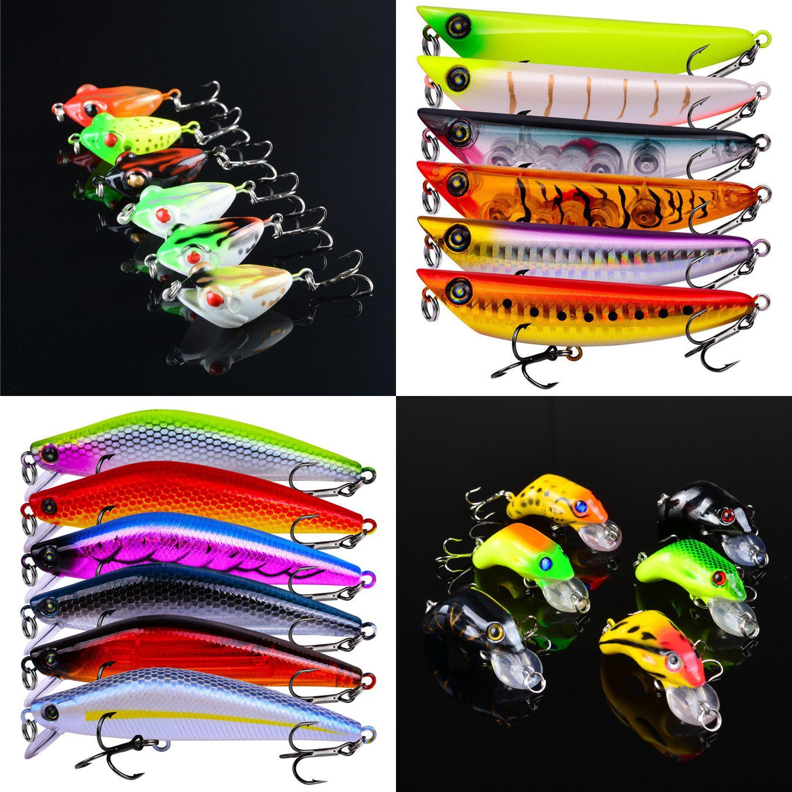 Mixed 6 Color 4g-14.15g(4cm-10.5cm) Plastic Hard Baits & Lures 8/6/4# Hook Fishing Hooks Fishhooks Fishing Accessories