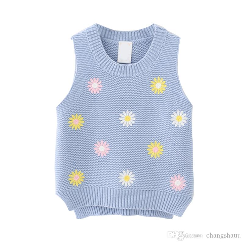 Дети Жилет Девочка Мальчик зима теплая Knited Жилеты Детские цветок вышивка Жилет случайные Куртки для девочек Детские ветровки