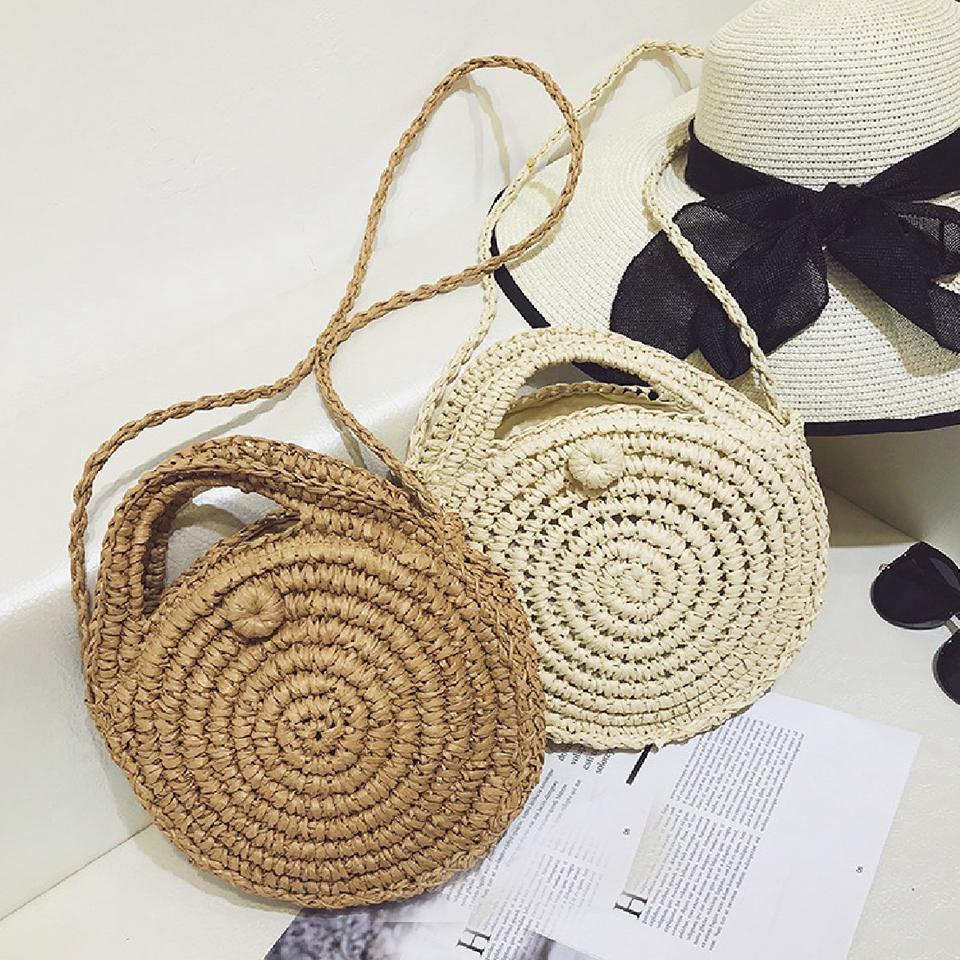 Oswego Straw Bag Round Handmade Cute Woven Beach Bags Handbags Purse Female Travel Vacation Crossbody Bags For Women 2019