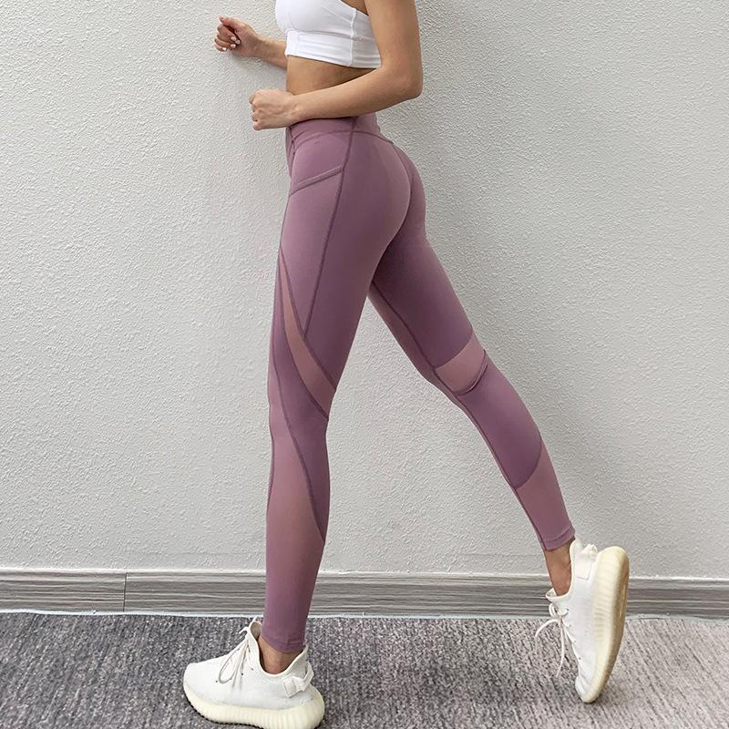 Malla Patchwork Deportes polainas corrientes respirables del entrenamiento de la aptitud de las bragas de cintura alta Gymwear Yoga Pant Control de Abdomen Activewear T200530