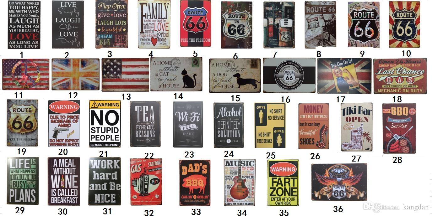 Placas de lata Coleção Route 66 Vintage Wall Art TIN retro sinal velho Metal Wall Art Painting Bar Cave Man Pub Restaurant decoração Home