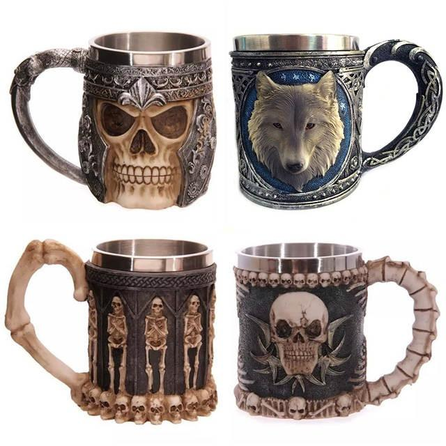 Coffee mug 3D Skull Horn Knight Cool Stainless Steel Cup Beer Cups Wine Mugs Halloween Gifts Bar Bottle Drinking Tumbler