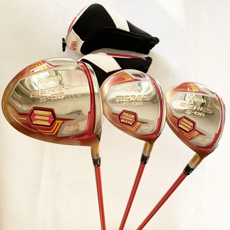 Yeni Golf kulüpleri HONMA S-06 4 yıldızlı sürücüsü 3/5 Kaçak ağaç grafit Golf şaft R / S esnek Golf ahşap ücretsiz nakliye set
