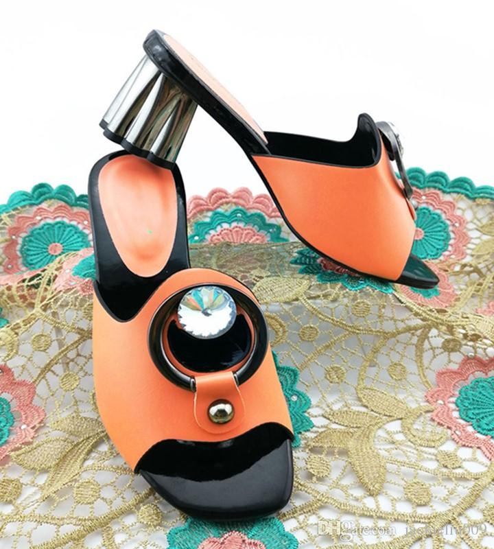 Sapatos de mulheres de pêssego elegante com grande decoração de cristal Bombas de senhoras africanas para molho QS1903, calcanhar 7cm