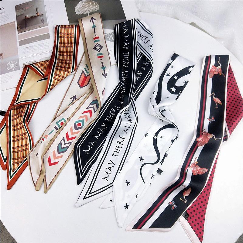 2019 bufanda de la manera del pelo para las mujeres pañuelo de seda de la impresión floral de la cabeza bufandas de satén 90 * 5cm pequeña cinta Cinta de cabeza Pañuelos Damas T200609