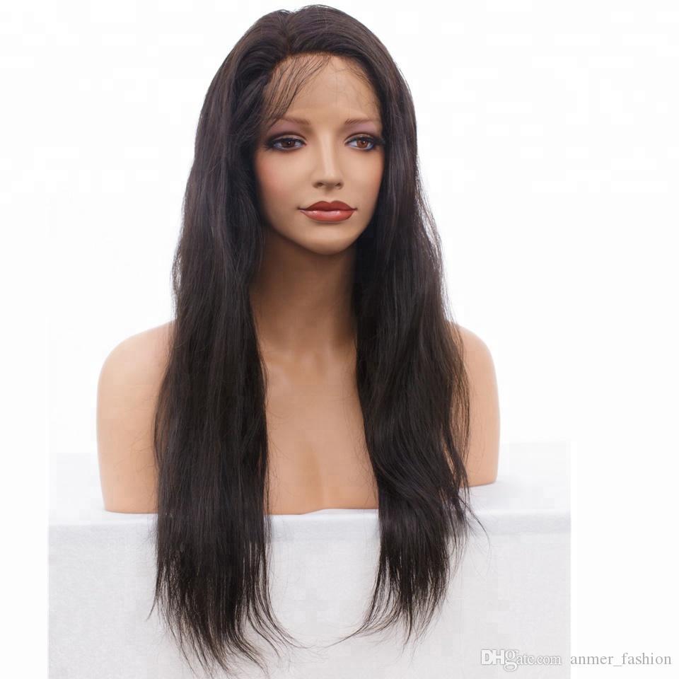 Satılık Tedarikçi İşlenmemiş Remy Virgin İnsan Saç Uzun Doğal Renk Doğal Düz Tam Dantel Cap Peruk Kadınlar için