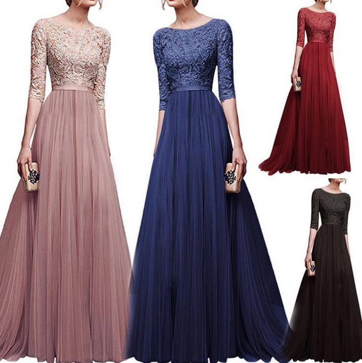 Alta Retro cintura laço floral longos vestidos da dama cor sólida 1/2 manga comprida Womens Chiffon formal Vestidos Vestido de festa à noite S-3XL