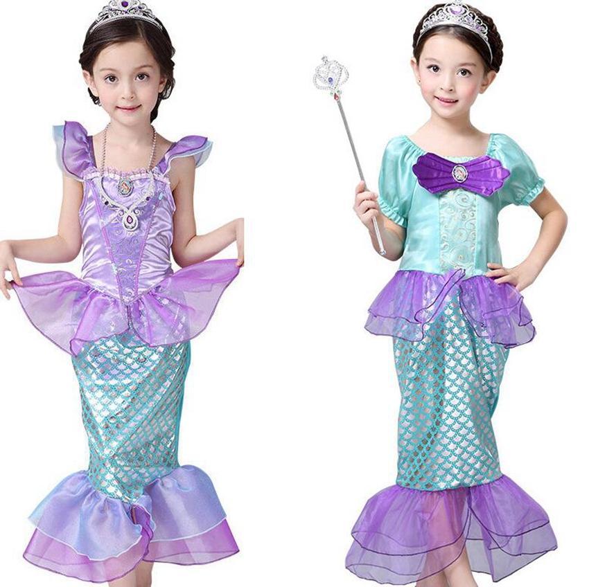 Kızlar Küçük Mermaid Prenses Elbise Cosplay Kostümleri Çocuklar Kız Mermaid Elbise Çocuk Cadılar Bayramı Giyim Mermaid Elbise 3stylesljjk2027