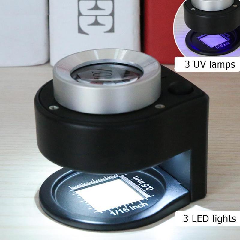 Outils 10X optique Lentille en verre Loupe Full Metal Loupe pliante Linen Tester Loupe avec lampe 6LED Compte-fils Loupe