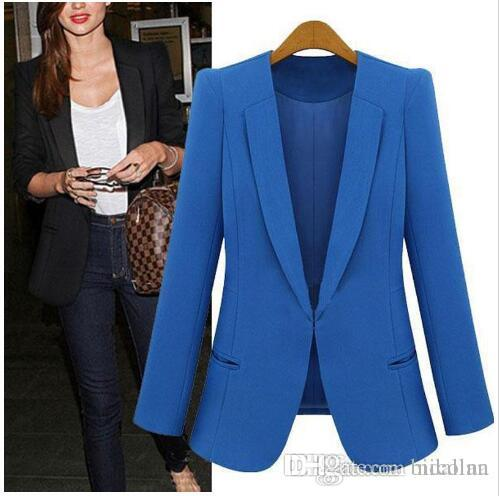 Giacca da donna da donna Plus Size 4XL Giacca da donna bianca Blaser da donna da donna blu colore nero SY185