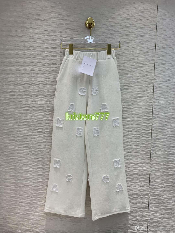 High End Mulheres projeto luxuoso Carta de algodão Oversize perna larga Calças Meninas Casual calças soltas pista longa Feminino Activewear Calças Casual