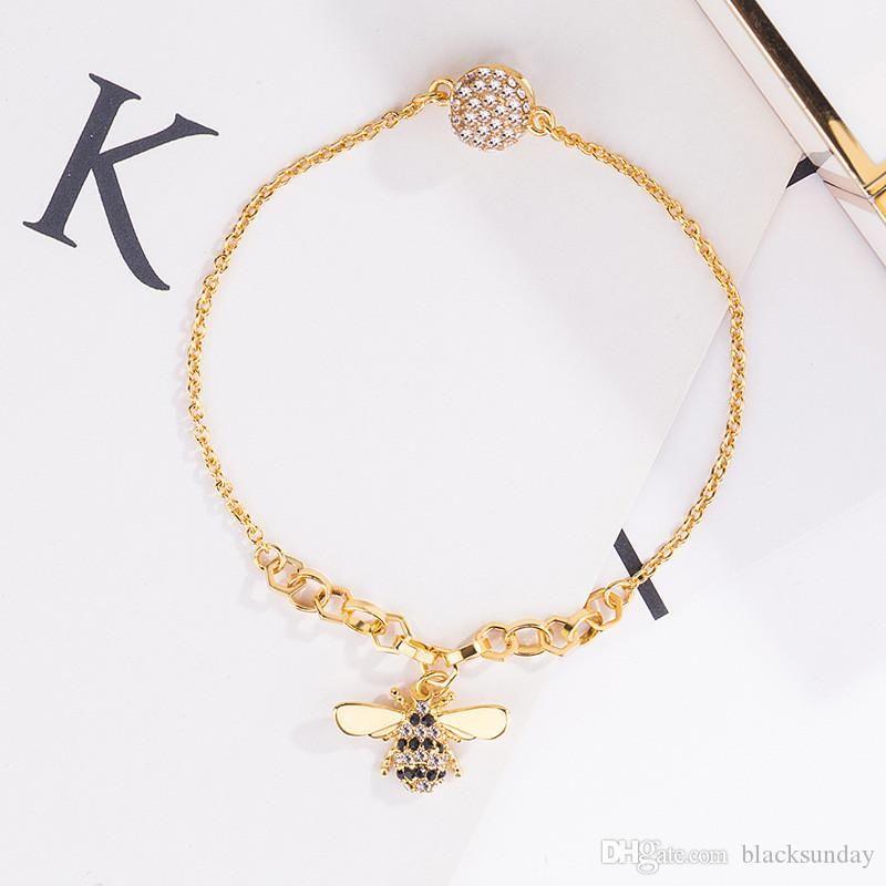 Mode Bracelet Bee avec Zircon Tide Marque chaîne d'or délicat pour les femmes Designer Ladies Bracelet cadeau