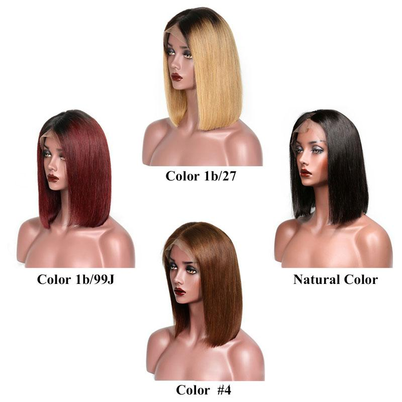 Cheap Colored Human Hair Lace Front Wigs Ombre Peruvian Straight Blonde Short Bob Lace Front Wigs for Black Women