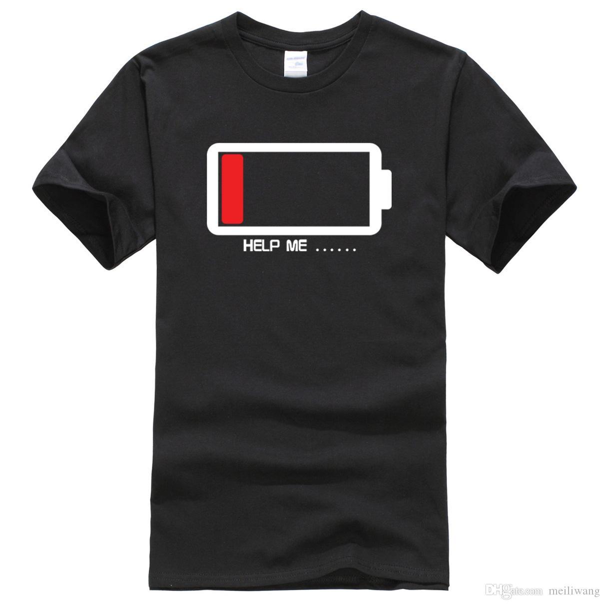 T-shirt do verão Baterias Me Ajude camisetas engraçadas 100% algodão de alta qualidade dos homens T-shirt harajuku aptidão camiseta homens topos