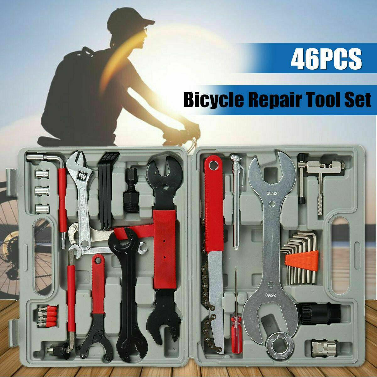 46Pcs Multi-Functional  Bicycle Repair Tool Kit Home Mechanic Cycling Wrench