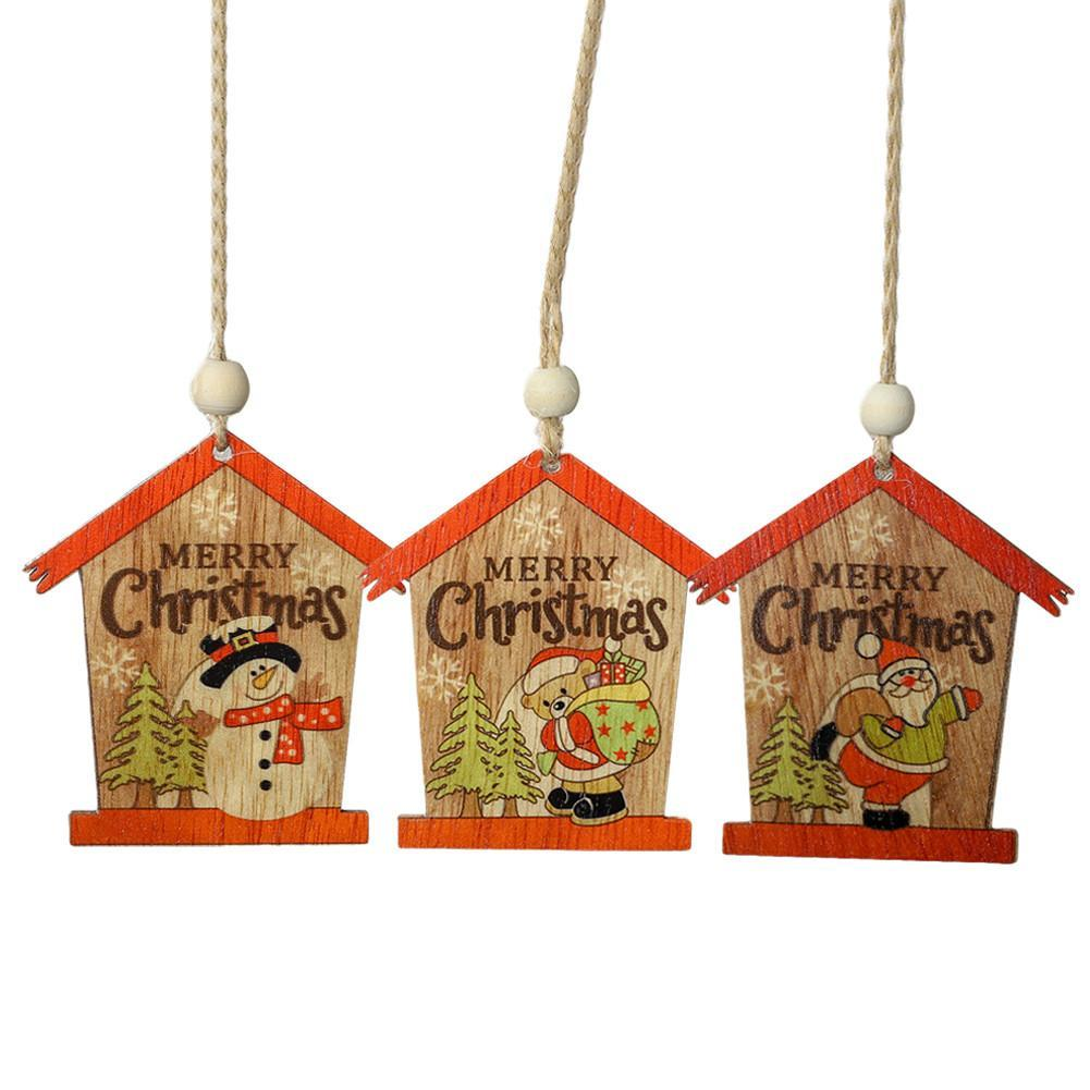 2PCS Christmas Decoration Innovative Painted Santa Claus Wooden Pendant Small House Colorful Wooden Ornament