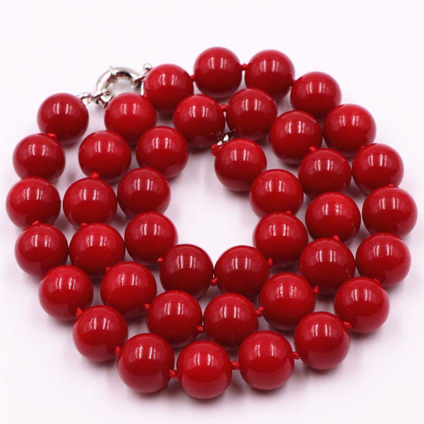 Moda deyimi kadınların yapay mercan kırmızısı taş 10mm boncuk kolye zinciri gerdanlık clavicle takı 18inch Y30