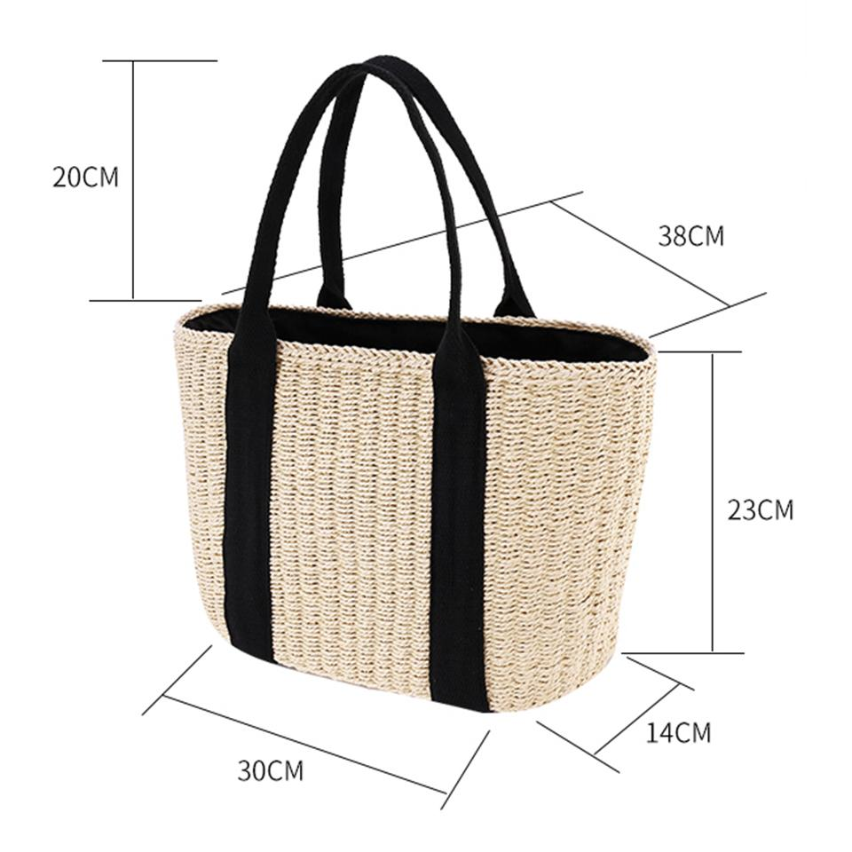 Oswego Bohemian Straw Bag Large Capacity Fashion Popular Woven Straw Beach Handbags Shoulder Bag Summer Totes Bag For Women 2019