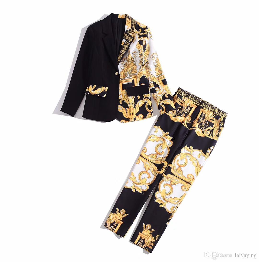 유럽과 미국 여성 의류 2019 겨울 새로운 스타일 긴 소매 코트 9 분의 바지 패션 레트로 인쇄 양복
