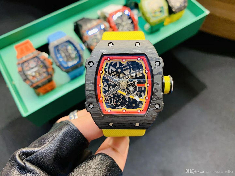 Лучшая версия Master замороженный из часы RM67-02 RM35-02 RM56-02 Openworked Механическое движение Sketelon Циферблат TPT углерода Fibel лицевой панели Роскошные часы