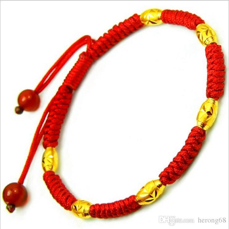 Plaqué Or Perles Bracelet Transfert Chance Corde Rouge Bracelet Réglable Tricoté À La Main Lucky Feng Shui Corde À La Main
