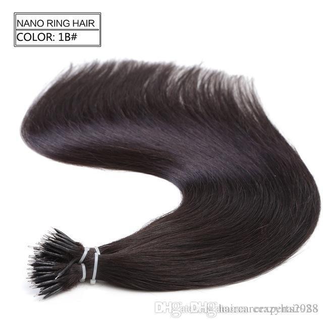 1 g / s 100s brésilien Micro Nano anneau de boucle prolongements de cheveux humains 100% Remy Hair 18Colors droits + 100pcs Anneaux Nano Perles