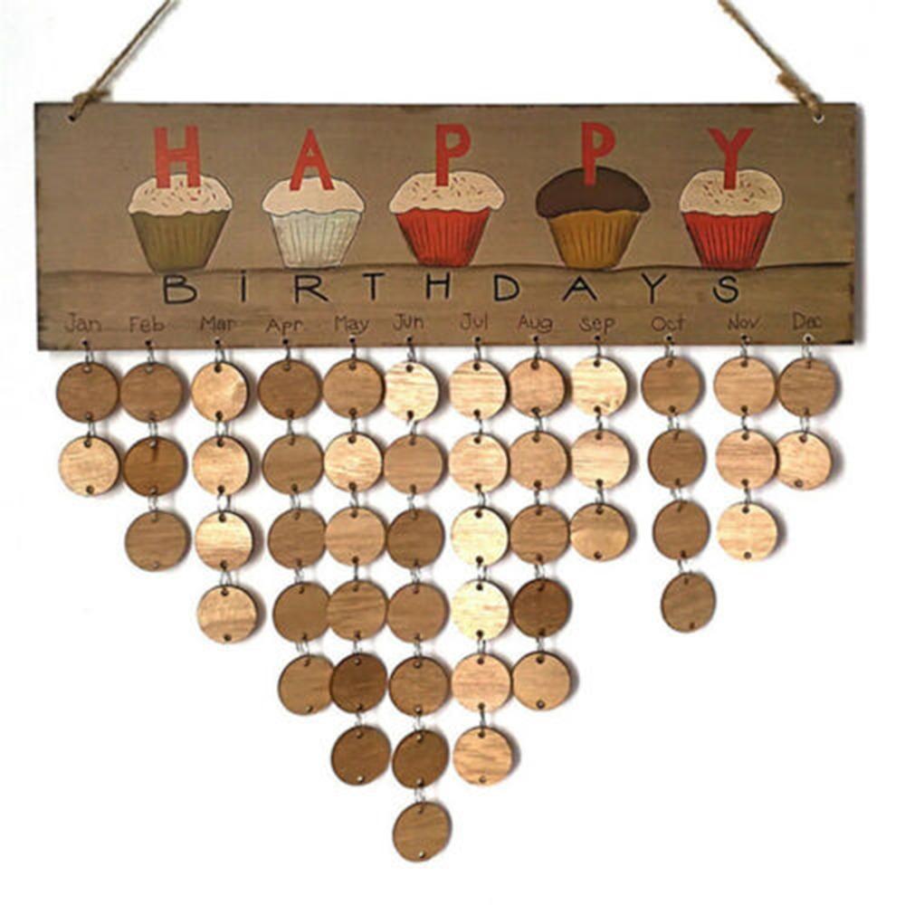 DIY calendario de pared de la torta de feliz cumpleaños Impreso Calendario muestra de madera fechas especiales Recordatorio Junta Inicio colgantes regalos de Navidad Decoración decoratio