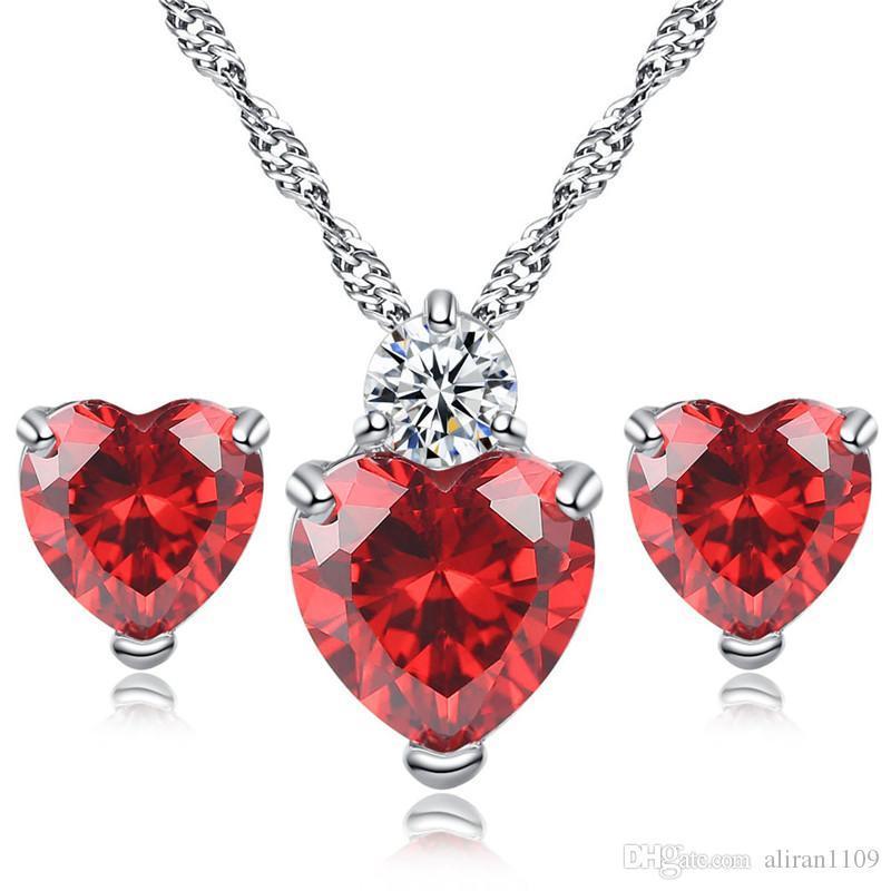 Moda corazón en forma de joyería conjunto pendientes collar Navidad fiesta encanto regalos colgantes conjunto de joyas
