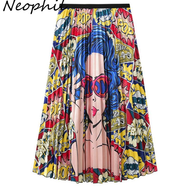 Neophil 2019 Femmes D'été Motif D'impression Plissée Jupes Longues Taille Haute Mesdames Bohême Empire Partie Maxi De Mode Jupes S2603