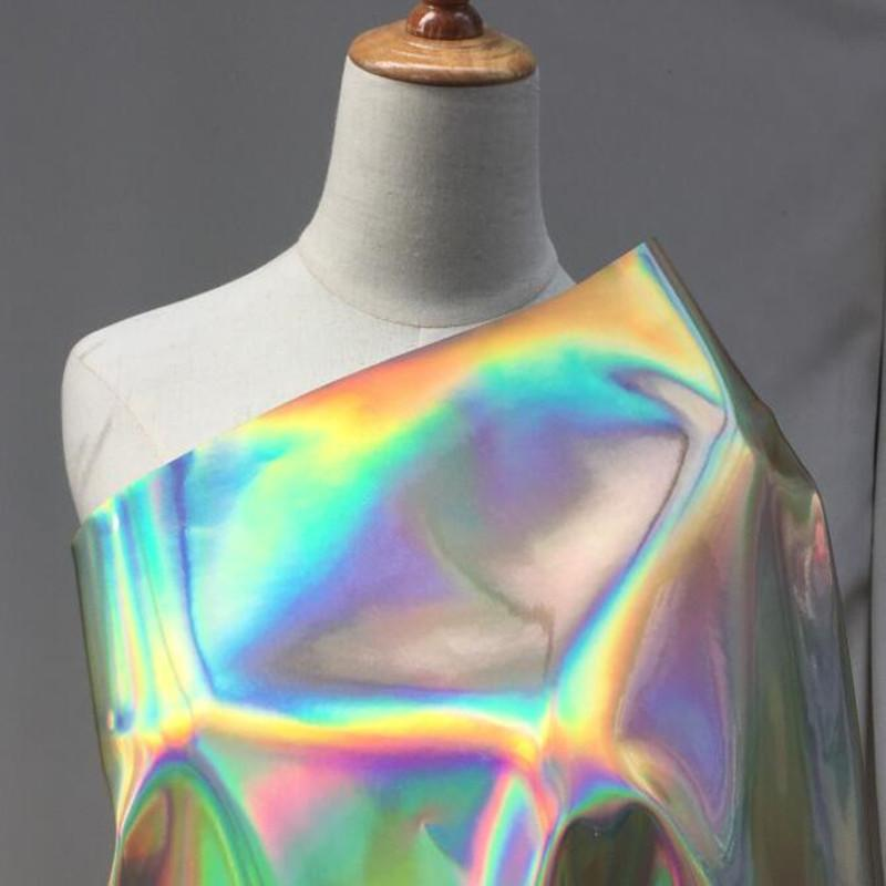 138cm Gold mirage laser Pu fabric dress party mirror reflection fluorescent clothing bag waterproof diy textiles sequin fabric D183