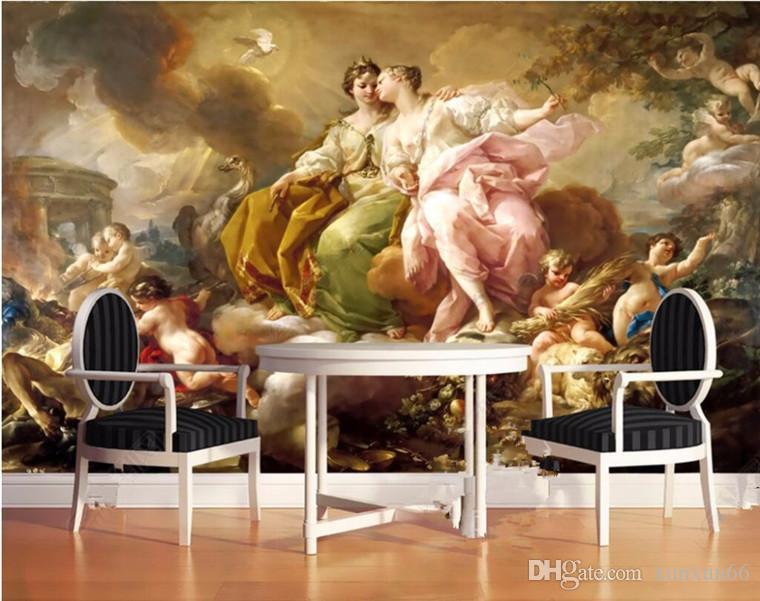 مخصصة خلفيات صور دول أوروبا الغربية خلفية 3D الكلاسيكية قصر زيت صورة زيتية للسلام حمامة الزيتون زهرة آلهة