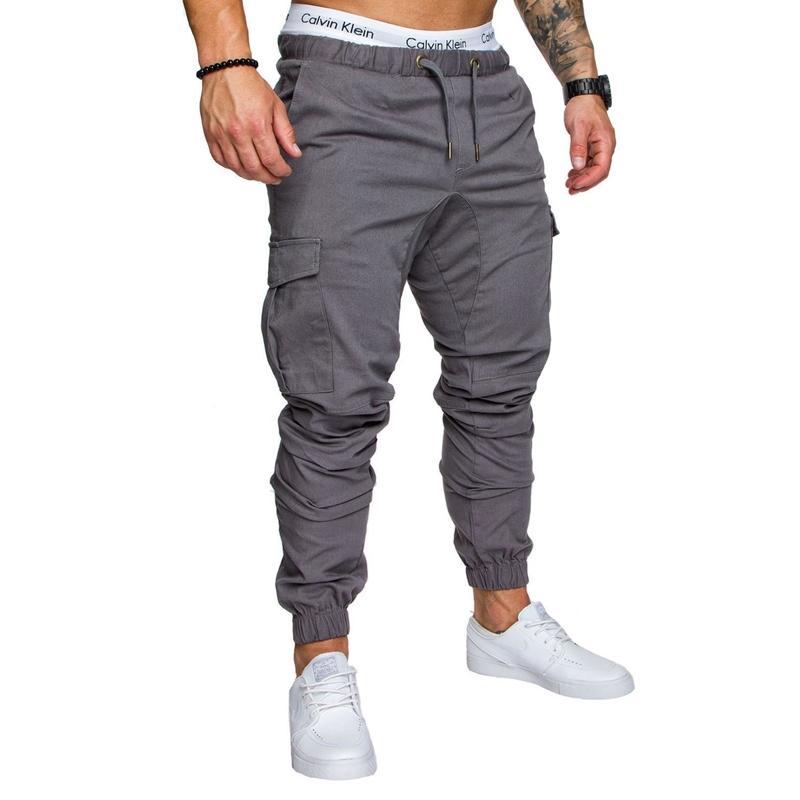 Uomini di modo dell'uomo Ragazzi casuale Jogger Cargo Pants Nizza tasche laterali della caviglia cravatta pantaloni lunghi misura sottile gamba dritta Pantaloni Tuta