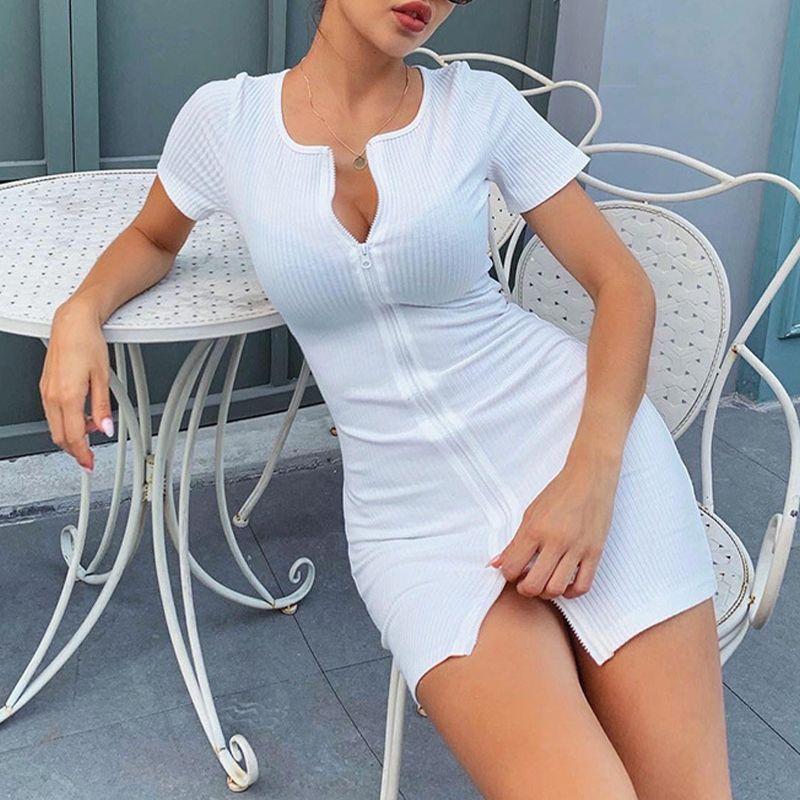 wholesale Womens Zipper Dress Mini Dresses Summer Fashion Short Sleeve White Vestidos Female 2020 Sexy Bodycon Black Part Dress