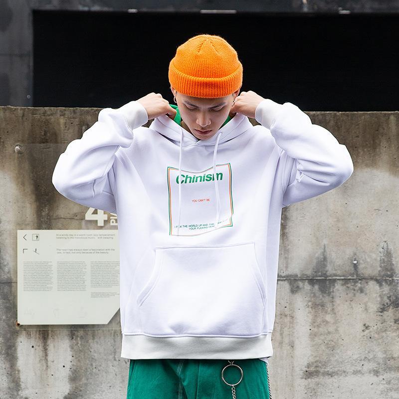 Erkek Hoodies Tişörtü Mektup Baskı Renk Blok Patchwork Erkekler Kapüşonlu Kazak Hip Hop Streetwear