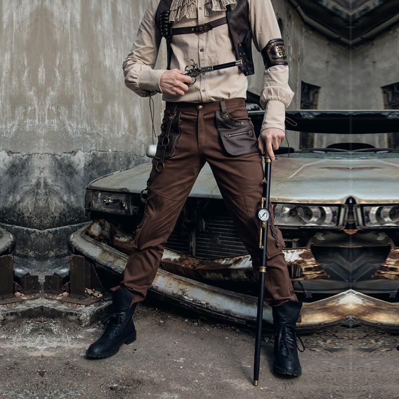 Steampunk retro del algodón de la manera Multi-bolsillos aflojarse pantalones militares del ejército de Brown para hombre por carretera PantsMX190902