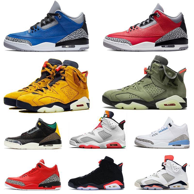 2020 Nike Air Jordan Retro 2020 XI 6 Travis Scott Mens scarpe da basket 6s XI GS Nero Nero infrarossi Cat Oreo Maroon alternativo Sport Sneakers 40-47