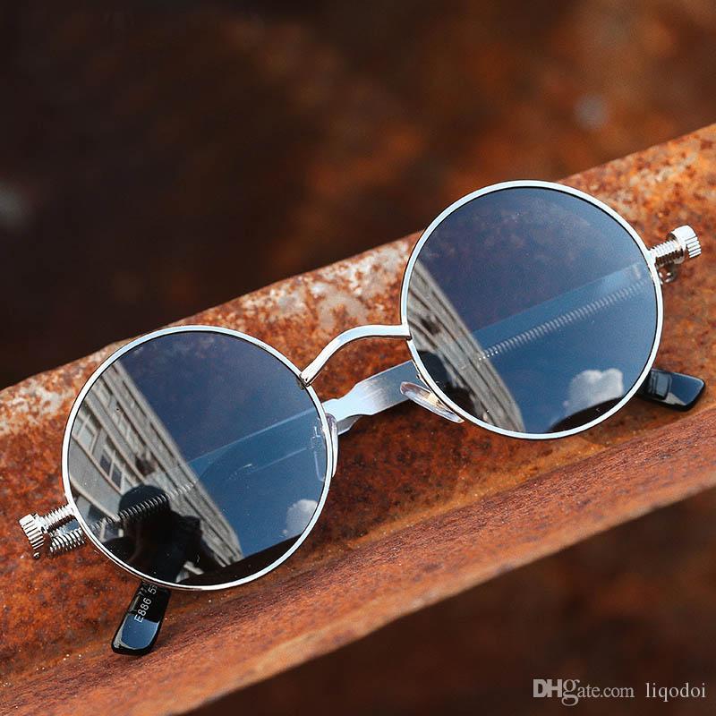 고딕 빈티지 라운드 선글라스 여자 남자 패션 서클 미러 90s 레트로 Steampunk 태양 안경 UV400 고글