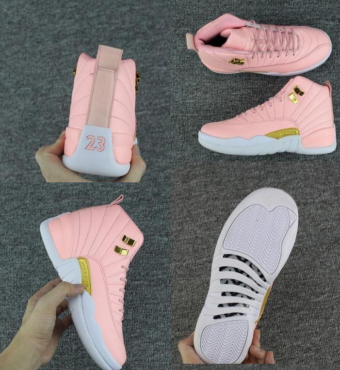 bambini Big Boy scarpe nuove di trasporto XII GS Pink Lemonade pallacanestro scarpe da donna Bambini 12s Pink Lemonade XII Sneakers formato Stati Uniti 5-8