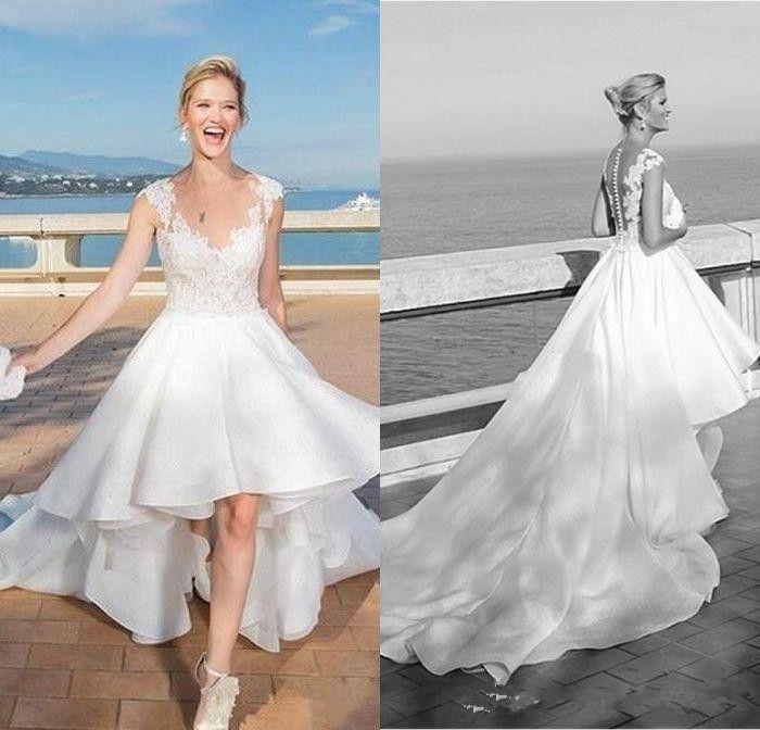 Front Short Long Back A Line Scoop High Low Beach Short Wedding Dresses White Chiffon Appliques Lace Sheer Neckline Vintage Wedding Dress