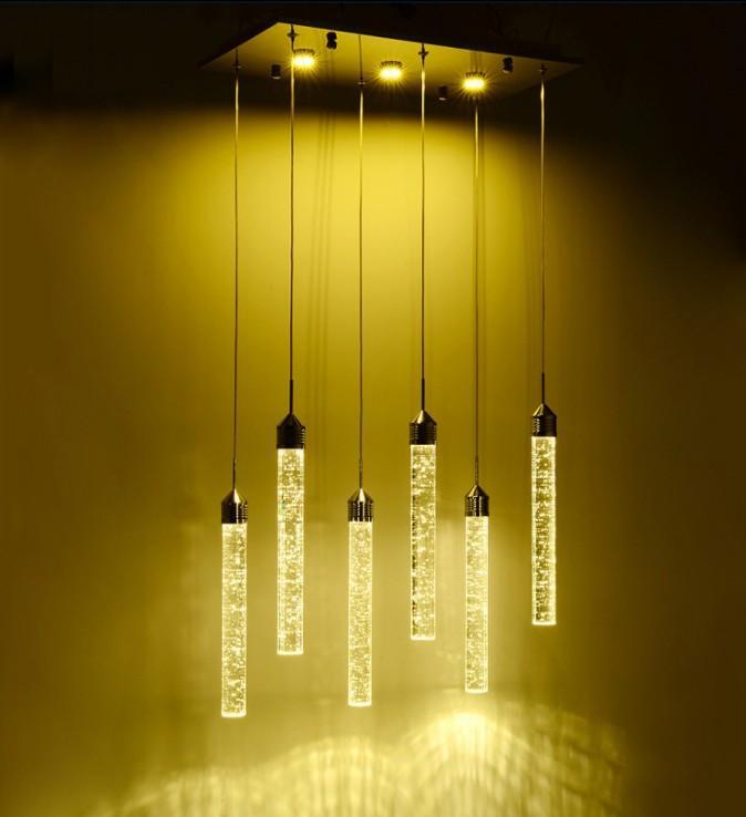 Regal Modern Chandelier Led Lamp Restaurant Bubble colonna di cristallo della lampada della lampada di illuminazione Personality Bar Sala da pranzo luminaria LLFA