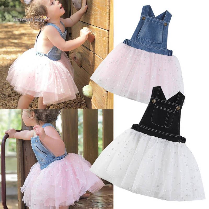 Лето 2019 девочек платья детей дизайнер одежды девочек Принцесса Платья Denim Туту платья девушки бутик одежды детей платье A3155
