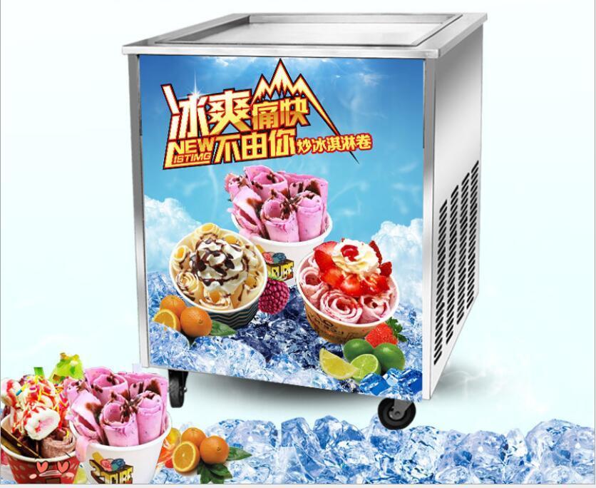 110V 220V Tailandia Máquina de helado frito Máquina de refrigerio Placa de helado Placa fría única Máquina de rollo de helado frito