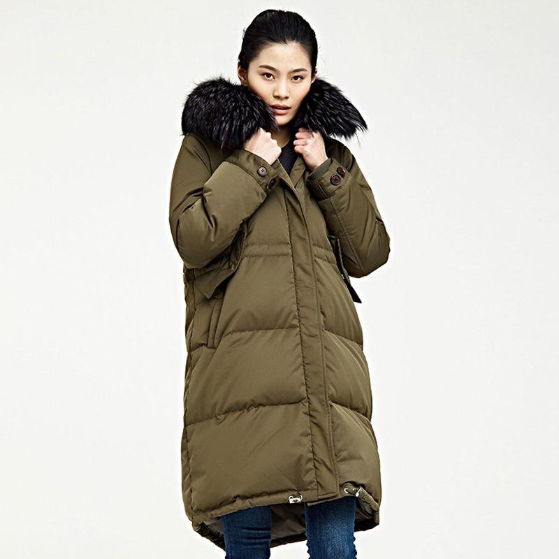 All'ingrosso-lusso di grandi dimensioni reale della pelliccia del procione 2018 giù del rivestimento di inverno Donne addensare Warm 90% Bianco Giù cappotto donna Neve Outwear AO736