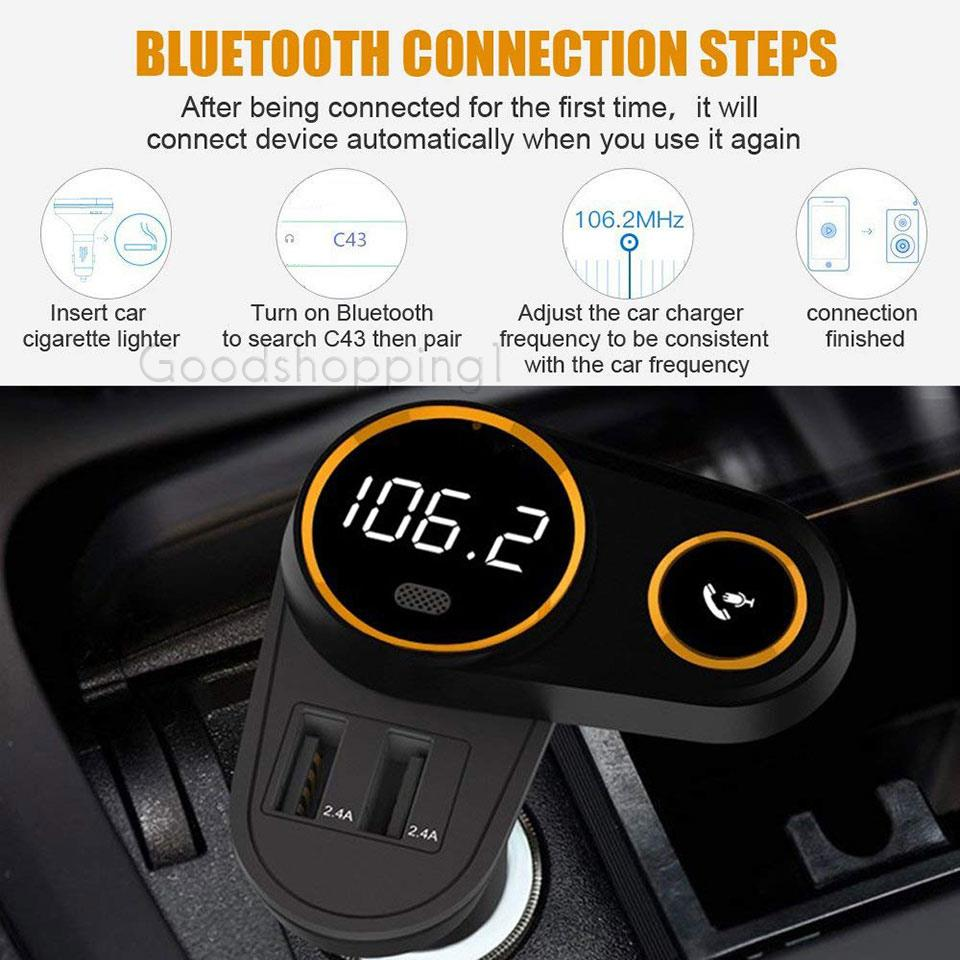 Black Wireless Bluetooth FM Radio Adapter Car Kit with Hands-Free Calling Rotating Design Bluetooth FM Transmitter for Car, 5V//2.4A/&2.4 Concealled Dual USB Charging Ports.