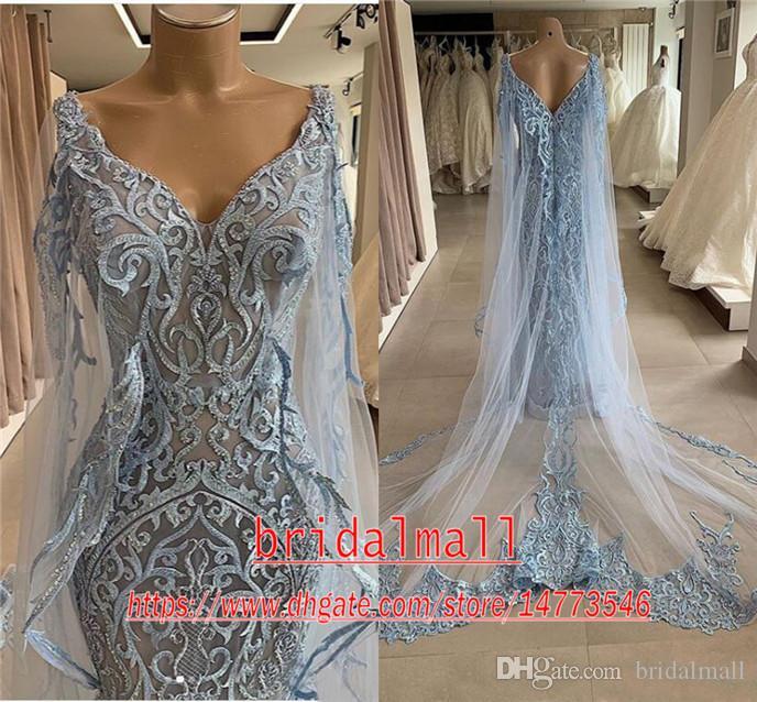 Marine-Blau-Spitze-Nixe-Abend-Kleid mit Schale 2020 eleganten V-Ausschnitt African Formal Abendkleid plus Größe Partei-Kleider Roben de soirée