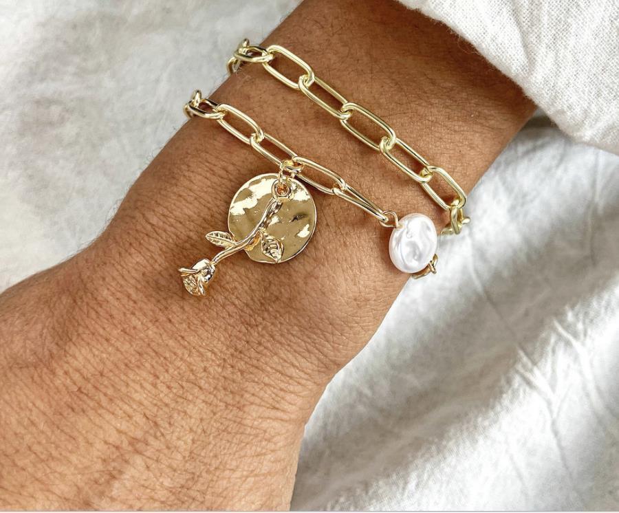 Chegada Nova Aço Inoxidável Cor Flor Rosa de Ouro Encantos pulseiras para Mulheres Meninas Moda pulseira presentes do dia dos namorados femme de